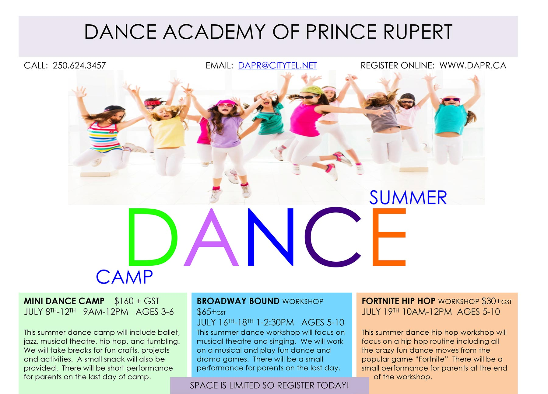 DAPR Summer Dance Camps in Prince Rupert